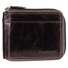 Mancini 106159-Bn Rfid Secure Men's Zippered Wallet with Removable Passcase, Brown, Under Seat