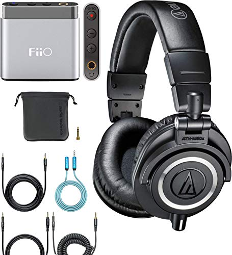 - Audio-Technica ATH-M50x Closed Back Headphones Bundle with FiiO A1 Portable Headphone Amplifier (Silver) and Blucoil 3.5mm Audio Extension Cable