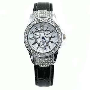 Miler Women's Genuine Leather Crystal Fashion Watch
