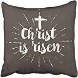 Staroutah Throw Pillow Cover 18''X18'' Decorative Polyester Jesus Christ Is Risen Hope Quote Easter Love Scripture Evangelism Faith Pillowcase Print Two Sides Deco Home
