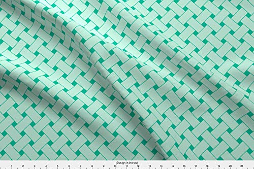 Spoonflower Melon Fabric - Melon Honeydew Picnic Basket Boston Basketweave Cucumber Minty - by Mariah Girl Printed on Organic Cotton Knit Ultra Fabric by The Yard