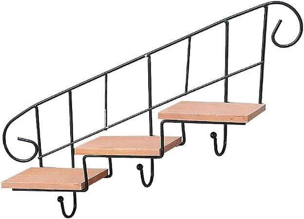 Estantes flotantes Floating shelves wall shelf Estante de madera de hierro forjado Escalera en forma de pared Decoración de exhibición de la planta, Colgador de exhibición Estante Organizador de almac: Amazon.es: Hogar