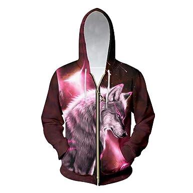 02db3144ea04 Double Thick Sweater Men s Zipper Hoodies 3D Print Galaxy Space Wolf Hoodie  Sweatshirt Man Long Sleeve