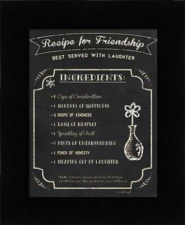 Amazon.com: Recipe for Friendship - Framed Art Print - 8.5x11 Fine ...