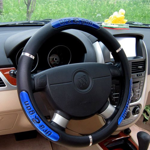 Hot Sell Dragon Design Leather Auto Car Steering Wheel Cover 38cm/15'' Anti-catch Holder Protector (Blue)