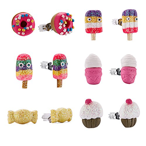 (Minihope Kids Jewelry, Hypoallergenic Polymer Clay Earrings Set for Little Girls, Colorful Desserts Candy Stud Earrings for Children.)
