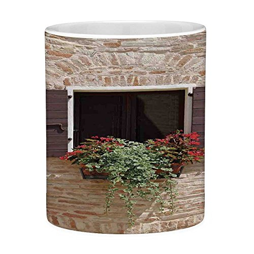 Funny Coffee Mug with Quote Tuscan 11 Ounces Funny Coffee Mug Antique Looking Window on an Ancient Stone Wall With Flowers Pienza Tuscany Picture Brown Ivory