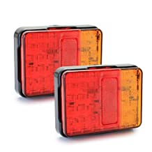 SODIAL(R) 2x 30 LED Waterproof 2W Tail Rear Light Lamp Red/Yellow for Trailer Truck Boat