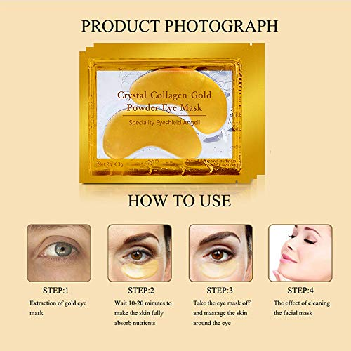 Under Eye Collagen Patch, 24K Gold Anti-Aging Eye Mask, Pads for Puffy Eyes, Tired Eyes, Fine Lines, Wrinkles, Dark Circles, and Puffy Eyes, Gel Pads 20 Pairs