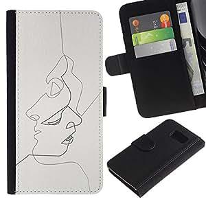 Paccase / Billetera de Cuero Caso del tirón Titular de la tarjeta Carcasa Funda para - drunk ? - Samsung Galaxy S6 SM-G920