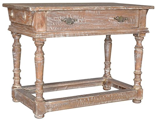 BP Industries 30018 Polo Console, Old Teak - The Polo Single Drawer Console is both tailored and charming Made from authentic antiqued wood it is a handsome addition to an entry way, bath, or architectural nook Storage drawer is convenient for holding office supplies or decorative odds and ends - living-room-furniture, living-room, console-tables - 51BRr  2yxL -