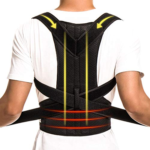 Cheap CFR Pro Posture Corrector Back Brace Support Belt for Shoulder Back Waist Pain Relief with Double Strong Splints for Humpback Recorrect Body Shape Black,L UPS Post
