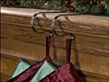 The Original MantleClip Stocking Holder with Snowflake design, 4 Pack - Antique Brass
