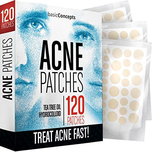 Acne Patches (120 Pack), Tea Tree Oil and Hydrocolloid Pimple Patches for Face, Zit Patch (3 Sizes), Blemish Patches…