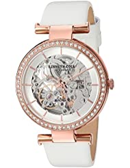Kenneth Cole New York Womens Auto Quartz Brass-Plated-Stainless-Steel and Leather Dress Watch, Color:White...