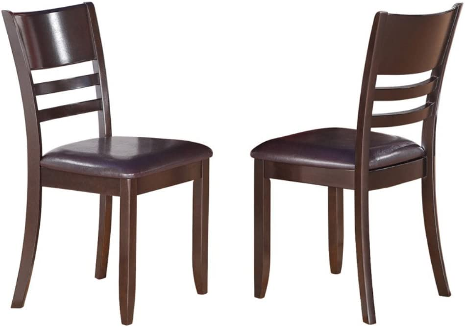 East West Furniture Lynfield Dining Chair with Faux Leather Upholstered Seat in Cappuccino Finish