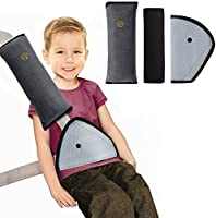 Rovtop 3 en 1 Oreiller Amovible+Voiture Ceinture de Sécurité+ Coussinets d'Epaule de Voiture Adaptateur Ceinture Securite Enfant Coussin Support de Cou Amovible Auto Voiture