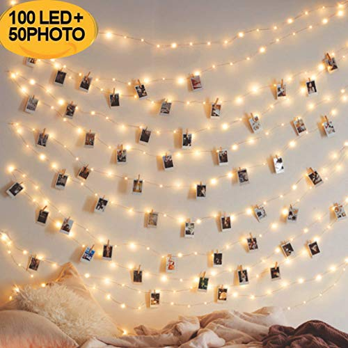 Photo Clip String Lights - FunDiscount 33FT 100 LED Fairy String Lights with 50 Wooden Clips, Battery Powered Picture Twinkle Light for Indoor Outdoor Use, Lighting for Wall, Patio, Yard, Garden (10M) from FunDiscount Shop_Lights