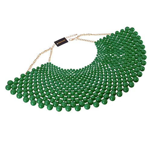 Bib Collar Necklace Chunky CCB Resin Beads Chain Choker Statement Necklace Womens Fashion Jewelry Necklace (Green)]()