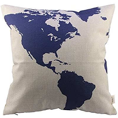HOSL Captain Blue Map Cotton Linen Square Decorative Throw Pillow Case Cushion Cover 17.3*17.3 Inch(44CM*44CM) by HOSL