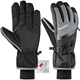 Andake Ski Gloves, Touchscreen 3M Thinsulate Waterproof TPU Membrane Men's Winter Gloves with Non-Slip PU Palms, Zippered Pocket and Adjustable Wrist for skiing, snowboarding, climbing and skating