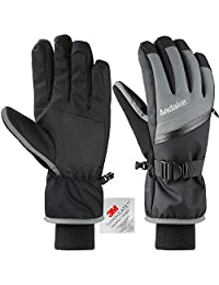 Andake Ski Gloves Men's 3M Thinsulate Winter Snow Warm Insulated Gloves Windproof Waterproof Gloves for Skiing, Snowboarding and Snowmobile