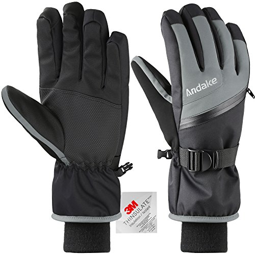 Main Zippered Pocket (Andake Ski Gloves, Touchscreen 3M Thinsulate Waterproof TPU Membrane Men's Winter Gloves with Non-Slip PU Palms, Zippered Pocket and Adjustable Wrist for skiing, snowboarding, climbing and skating)