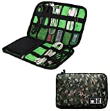 Travel Universal Cable Organizer Electronics Digital Accessories Sleeve Case for USB,Phone,Charger and Cables Gear Organizer Storage Bag (Green Camo)