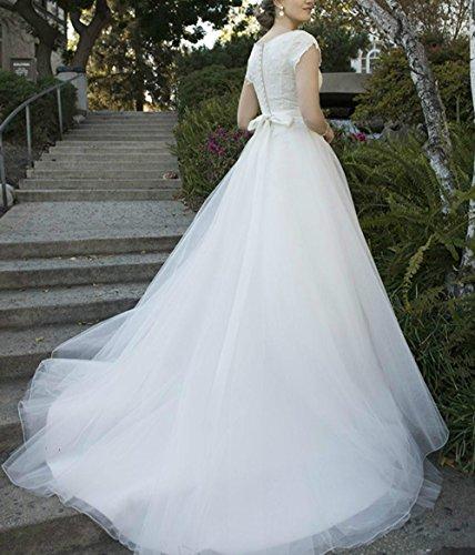 Dmdrs Dentelle Des Femmes Une Ligne De Scoop Robes De Mariée En Tulle Coiffés Cou Balle Blanche De Mariée