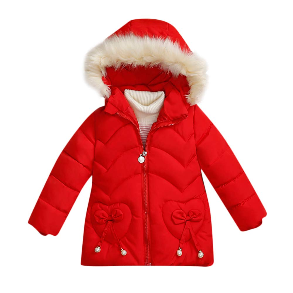 FIged Baby Outerwear, Winter Padding Thick Baby Girls Pure Color Heart Cute Coat