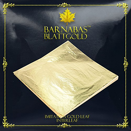 Imitation Gold Leaf Sheets - by Barnabas Blattgold - 100 Sheets - 16 x 16cm - Loose Leaf ()