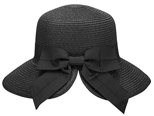 AbbyLexi Women's Pretty Vintage Roll Up Beach Sun Visor Straw Hat w/Bow, Black
