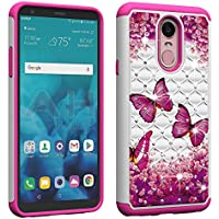 Berry Accessory LG Stylo 4 Case,LG Q Stylus Case,LG Stylo 4 Plus Luxury Glitter Sparkle Bling Case,Studded Rhinestone Crystal Hybrid [ Dual Layer ] Armor Case for LG Stylo 4 (2018) Pink Butterly