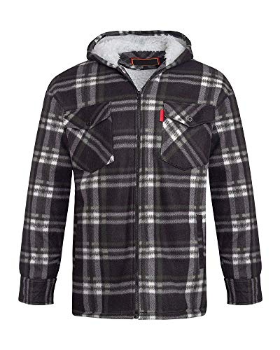 Unisex Mens Fleece Sherpa Fur Lined Lumberjack Hood Check Quilted Thermal Shirt [Black/White (Hooded) XL]