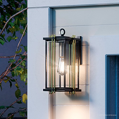 Beveled Glass Front Doors - Luxury Transitional Outdoor Wall Light, Large Size: 12.75