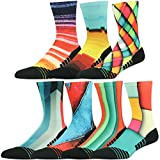 Fun Fashion Dress Socks Pack Unisex, HUSO Fashion Colorful Print Running Sports Compression Quick Wicking Socks 7 Pairs (Multicolor, L/XL) For Sale