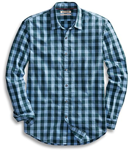 Goodthreads Men's Standard-Fit Long-Sleeve Gingham Plaid Poplin Shirt, Blue/Green, Large