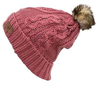 Women's Faux Fur PomPom Fleece Lined Knitted Slouchy Beanie Hat - Pink