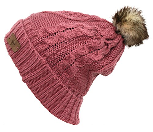 Women's Faux Fur PomPom Fleece Lined Knitted Slouchy Beanie Hat - Pink