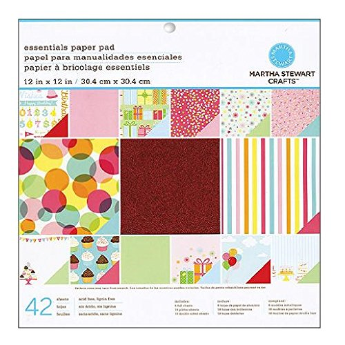 Martha Stewart Crafts Paper Pad, Modern Festive, 42 Sheets, 12 by 12 inches