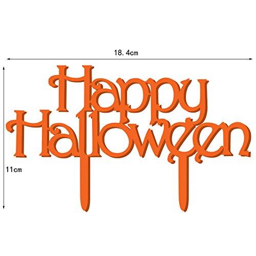 Zehui Creative Halloween Cake Troppler ,Acrylic Monogram Cake Toppers for Halloween Party Cake Decoration Orange,18.4x11x0.18cm ()
