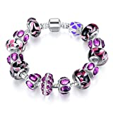 Bamoer 2016 New Purple Lilac Murano Glass Beads Charms Silver Tone Bracelets Fashion Jewelry for Women Girls Best Gift 7.87 Inches