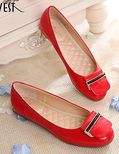 Nero Comoda Scarpe lavoro Formale Vernice e Donna Tessuto Casual pelle Rosso Piatto ShangYi almond Ballerine Red Ufficio Finta wqgOO48
