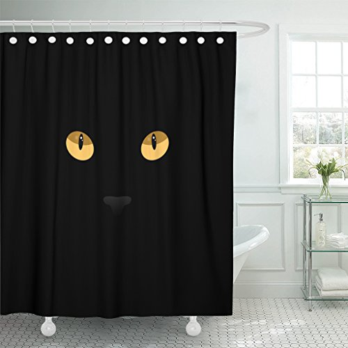 TOMPOP Shower Curtain Orange Halloween Cat Eyes on Yellow Black Abstract Anger Waterproof Polyester Fabric 78 x 72 Inches Set with Hooks