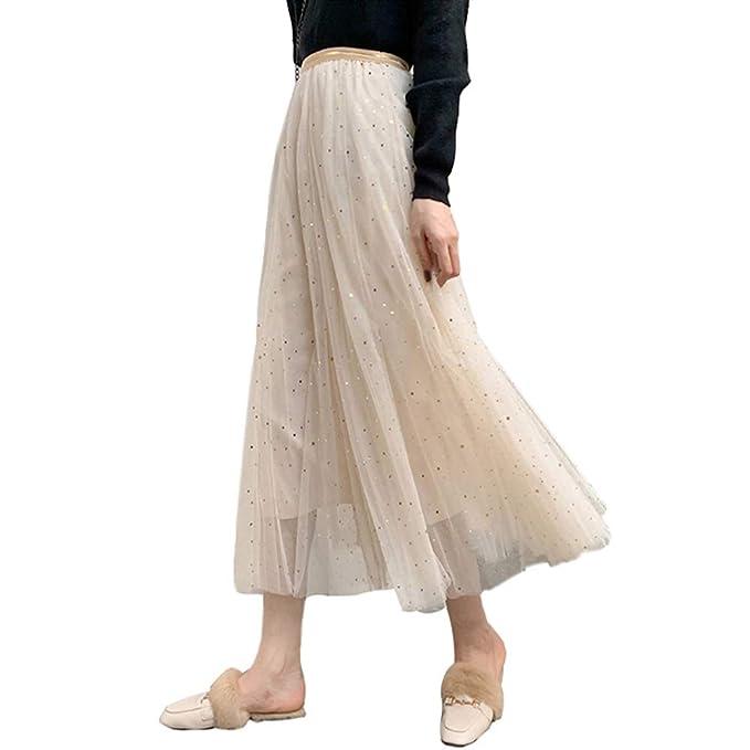1d30c7081d Women Ladies Long Tutu Skirts Sequins Stars Tulle Skirts A-line Swing Skirts  High Waist