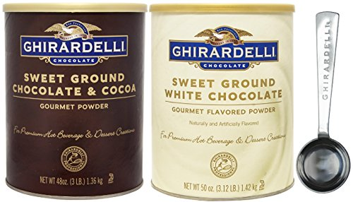 Ghirardelli - Sweet Ground Chocolate & Cocoa Gourmet Powder 3 lbs & Sweet Ground White Chocolate Gourmet Flavored Powder 3.12 lb - with Exclusive 1.5 Tbsp Measuring Spoon (Sweet Ground Chocolate White)