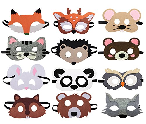 Dlazm 12 Pieces Forest Friends Felt Animal Mask for Birthday Party Favors -
