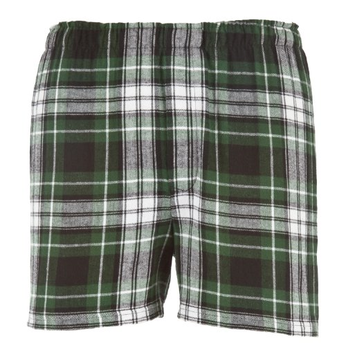 Green Black White Plaid Check Classic Cut Flannel Boxer Shorts, Unisex Sizes, Small (White Flannel Boxer Short)