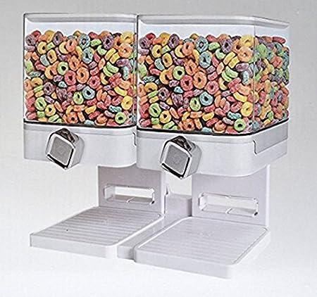 contenitore trasparente 1-2-3 vie con vassoio per alimenti secchi doppio nero Dispensatore di cereali ermetico Enyaa cibo per animali caramelle e alimenti