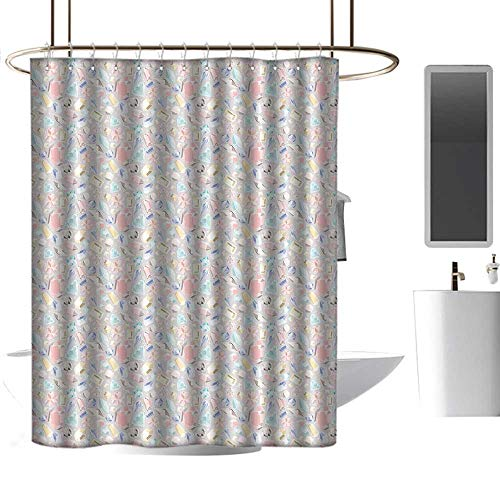 Shower Curtains Rings for Bathroom Diamonds,Pastel Colored Cushion Baguette Square and Oval Shaped Design Star Filled Backdrop,Multicolor,W48 x L84,Shower Curtain for Shower stall ()